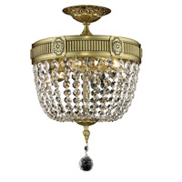 Elegant Lighting Esperanza 3 Light Flush Mount in French Gold with Swarovski Strass Clear Crystal 9303F12FG/SS