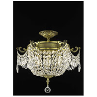 Elegant Lighting Esperanza 3 Light Flush Mount in Antique Bronze with Swarovski Strass Clear Crystal 9303F18AB/SS