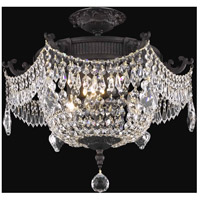 Elegant Lighting Esperanza 3 Light Flush Mount in Dark Bronze with Royal Cut Clear Crystal 9303F18DB/RC