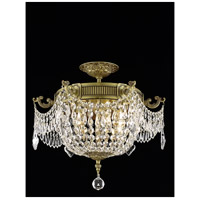 Elegant Lighting Esperanza 3 Light Flush Mount in French Gold with Elegant Cut Clear Crystal 9303F18FG/EC