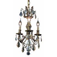 Elegant Lighting Marseille 3 Light Pendant in Antique Bronze with Royal Cut Golden Shadow Crystal 9503D13AB-GS/RC