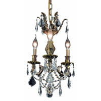 Elegant Lighting Marseille 3 Light Pendant in Antique Bronze with Elegant Cut Clear Crystal 9503D13AB/EC