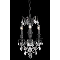 Elegant Lighting Marseille 3 Light Pendant in Dark Bronze with Royal Cut Clear Crystal 9503D13DB/RC