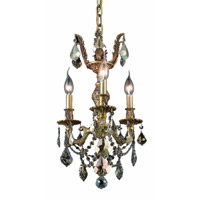 Elegant Lighting Marseille 3 Light Pendant in French Gold with Royal Cut Golden Teak Crystal 9503D13FG-GT/RC