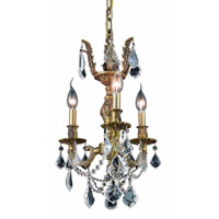 Elegant Lighting Marseille 3 Light Pendant in French Gold with Elegant Cut Clear Crystal 9503D13FG/EC
