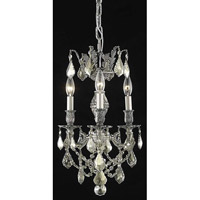 Elegant Lighting Marseille 3 Light Pendant in Pewter with Swarovski Strass Golden Teak Crystal 9503D13PW-GT/SS