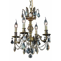 Elegant Lighting Marseille 4 Light Dining Chandelier in Antique Bronze with Royal Cut Golden Shadow Crystal 9504D17AB-GS/RC
