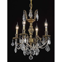 Elegant Lighting Marseille 4 Light Dining Chandelier in Antique Bronze with Elegant Cut Clear Crystal 9504D17AB/EC
