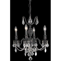 Elegant Lighting Marseille 4 Light Dining Chandelier in Dark Bronze with Elegant Cut Clear Crystal 9504D17DB/EC