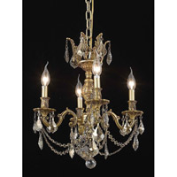 Elegant Lighting Marseille 4 Light Dining Chandelier in French Gold with Royal Cut Golden Teak Crystal 9504D17FG-GT/RC
