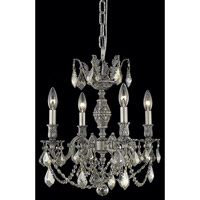 Elegant Lighting Marseille 4 Light Dining Chandelier in Pewter with Royal Cut Golden Teak Crystal 9504D17PW-GT/RC
