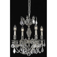 Elegant Lighting Marseille 4 Light Dining Chandelier in Pewter with Elegant Cut Clear Crystal 9504D17PW/EC