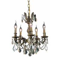 Elegant Lighting Marseille 5 Light Dining Chandelier in Antique Bronze with Royal Cut Golden Shadow Crystal 9505D18AB-GS/RC
