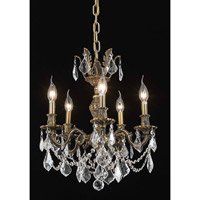 Elegant Lighting Marseille 5 Light Dining Chandelier in Antique Bronze with Elegant Cut Clear Crystal 9505D18AB/EC
