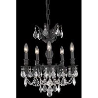Elegant Lighting Marseille 5 Light Dining Chandelier in Dark Bronze with Royal Cut Clear Crystal 9505D18DB/RC - Open Box