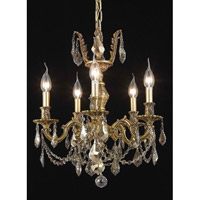 Elegant Lighting Marseille 5 Light Dining Chandelier in French Gold with Royal Cut Golden Teak Crystal 9505D18FG-GT/RC