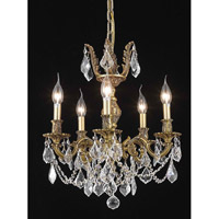 Elegant Lighting Marseille 5 Light Dining Chandelier in French Gold with Spectra Swarovski Clear Crystal 9505D18FG/SA