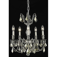 Elegant Lighting Marseille 5 Light Dining Chandelier in Pewter with Swarovski Strass Golden Teak Crystal 9505D18PW-GT/SS