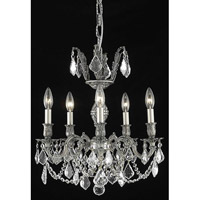 Elegant Lighting Marseille 5 Light Dining Chandelier in Pewter with Elegant Cut Clear Crystal 9505D18PW/EC