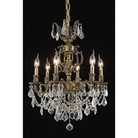 Elegant Lighting Marseille 6 Light Dining Chandelier in Antique Bronze with Royal Cut Golden Shadow Crystal 9506D20AB-GS/RC