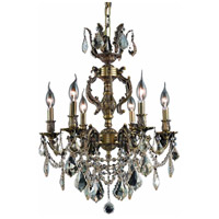 Elegant Lighting Marseille 6 Light Dining Chandelier in Antique Bronze with Elegant Cut Clear Crystal 9506D20AB/EC