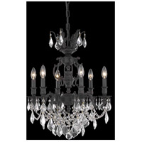 Elegant Lighting Marseille 6 Light Dining Chandelier in Dark Bronze with Elegant Cut Clear Crystal 9506D20DB/EC