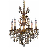 Elegant Lighting Marseille 6 Light Dining Chandelier in French Gold with Royal Cut Golden Teak Crystal 9506D20FG-GT/RC