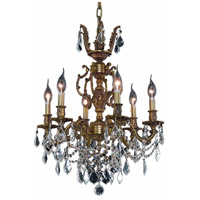 Elegant Lighting 9506D20FG/RC Marseille 6 Light 20 inch French Gold Dining Chandelier Ceiling Light in Clear, Royal Cut