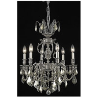Elegant Lighting Marseille 6 Light Dining Chandelier in Pewter with Royal Cut Golden Teak Crystal 9506D20PW-GT/RC