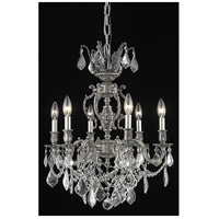 Elegant Lighting 9506D20PW/SS Marseille 6 Light 20 inch Pewter Dining Chandelier Ceiling Light in Clear Swarovski Strass