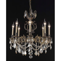 Elegant Lighting Marseille 8 Light Dining Chandelier in Antique Bronze with Royal Cut Golden Shadow Crystal 9508D24AB-GS/RC