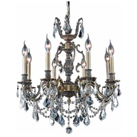 Elegant Lighting Marseille 8 Light Dining Chandelier in Antique Bronze with Royal Cut Clear Crystal 9508D24AB/RC