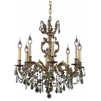 Elegant Lighting Marseille 8 Light Dining Chandelier in French Gold with Swarovski Strass Golden Teak Crystal 9508D24FG-GT/SS