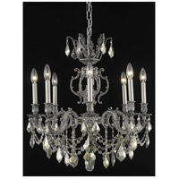 Elegant Lighting Marseille 8 Light Dining Chandelier in Pewter with Swarovski Strass Golden Teak Crystal 9508D24PW-GT/SS