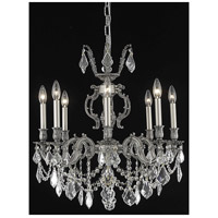 Elegant Lighting Marseille 8 Light Dining Chandelier in Pewter with Elegant Cut Clear Crystal 9508D24PW/EC