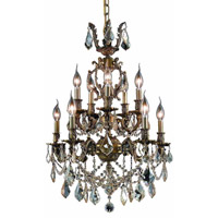 Elegant Lighting Marseille 10 Light Dining Chandelier in Antique Bronze with Swarovski Strass Golden Shadow Crystal 9510D21AB-GS/SS