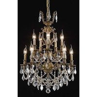 Elegant Lighting Marseille 10 Light Dining Chandelier in Antique Bronze with Elegant Cut Clear Crystal 9510D21AB/EC