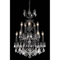 Elegant Lighting Marseille 10 Light Dining Chandelier in Dark Bronze with Elegant Cut Clear Crystal 9510D21DB/EC