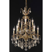 Elegant Lighting Marseille 10 Light Dining Chandelier in French Gold with Swarovski Strass Golden Teak Crystal 9510D21FG-GT/SS