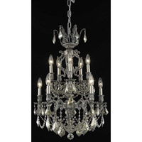 Elegant Lighting Marseille 10 Light Dining Chandelier in Pewter with Royal Cut Golden Teak Crystal 9510D21PW-GT/RC