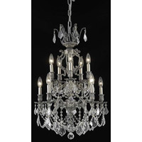 Elegant Lighting Marseille 10 Light Dining Chandelier in Pewter with Elegant Cut Clear Crystal 9510D21PW/EC