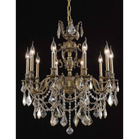Elegant Lighting Marseille 10 Light Dining Chandelier in Antique Bronze with Royal Cut Golden Shadow Crystal 9510D28AB-GS/RC