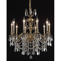 Elegant Lighting Marseille 10 Light Dining Chandelier in Antique Bronze with Elegant Cut Clear Crystal 9510D28AB/EC