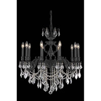 Elegant Lighting Marseille 10 Light Dining Chandelier in Dark Bronze with Elegant Cut Clear Crystal 9510D28DB/EC