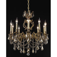 Elegant Lighting Marseille 10 Light Dining Chandelier in French Gold with Royal Cut Golden Teak Crystal 9510D28FG-GT/RC