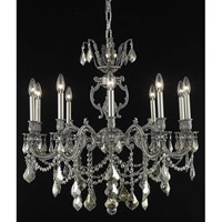Elegant Lighting Marseille 10 Light Dining Chandelier in Pewter with Royal Cut Golden Teak Crystal 9510D28PW-GT/RC