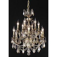Elegant Lighting Marseille 12 Light Dining Chandelier in Antique Bronze with Royal Cut Golden Shadow Crystal 9512D24AB-GS/RC