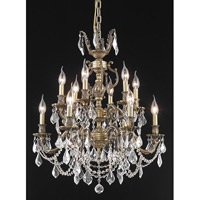 Elegant Lighting Marseille 12 Light Dining Chandelier in Antique Bronze with Elegant Cut Clear Crystal 9512D24AB/EC