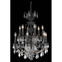 Elegant Lighting Marseille 12 Light Dining Chandelier in Dark Bronze with Elegant Cut Clear Crystal 9512D24DB/EC