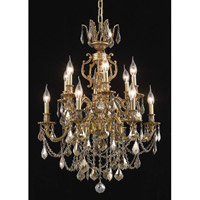 Elegant Lighting Marseille 12 Light Dining Chandelier in French Gold with Swarovski Strass Golden Teak Crystal 9512D24FG-GT/SS